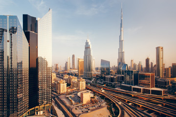 Beautiful aerial view to Dubai downtown city center skyline at sunset, United Arab Emirates