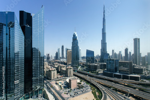 Leinwanddruck Bild Beautiful aerial view to Dubai downtown city center skyline in the daytime, United Arab Emirates