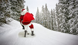 Santa Claus on winter road