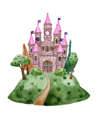 Watercolor fairytale castle with towers on the hill for princess. Children's illustration isolated on white background. © Olga