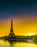 Sunrise at the Eiffel towerand Seine river in spring in Paris, France. Vertical view from Bir Hakeim bridge © zefart