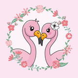 couple of flamingos in love inside flower frame. Valentines card
