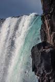 majestic waterfall  Oxararfoss in Thingvellir National Park Iceland in autumn in sunny weather