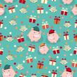 Seamless new year pattern with images of piglets, bells, and gift boxes. - 234480836