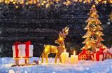 Christmas background with illuminated moose and christmas tree. - 234488208