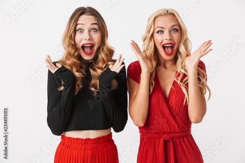 Dwa ładnej młodej mądrze ubierali dziewczyny jest ubranym makeup