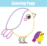 Cartoon bird. Coloring page for children and kids. Printable toddlers fun elementary level © ksuklein