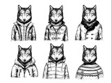Sketch of wolfs in winter jackets. Hand drawn vector illustration
