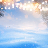 art Christmas tree light; Blue Snowy winter Christmas Landscape