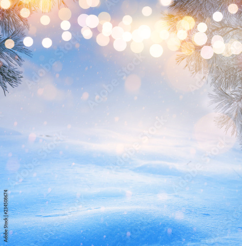 Leinwandbild Motiv art Christmas tree light; Blue Snowy winter Christmas Landscape