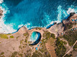 Broken bay on Nusa Penida Island. Aerial drone view with cost and blue ocean