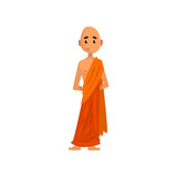 Buddhist monk cartoon character in orange robe vector Illustration on a white background