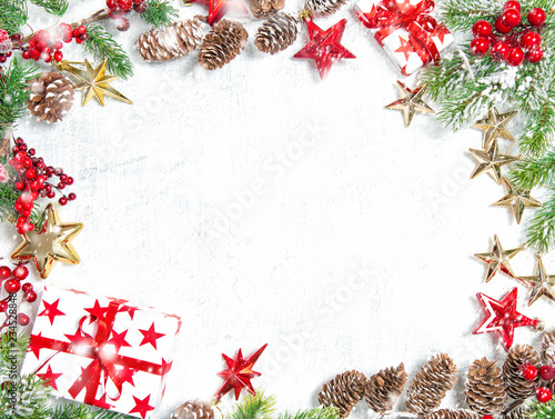 Christmas tree branches gifts stars decorations snow