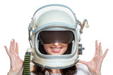 Young woman wearing space helmet isolated on white background