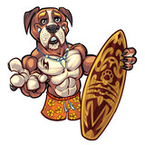 Dog with Surfboard and Swim Trunks © Brian Allen