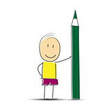hand-drawn man stands with a green pencil.