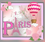 Romantic background with Eiffel Tower and pink roses. © Michiru13