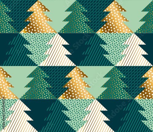 Abstract concept Christmas tree seamless pattern.