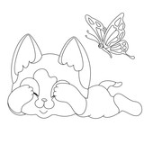Siamese little cat lies closed eyes scared  butterfly black white line coloring book vector illustration © Tatiana