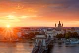 Sunrise, Chain bridge and st. Stephen's basilica in Budapest