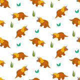 Cute cartoon triceratops seamless pattern for kids textile. Nice bright childish texture with dino characters and grass for children textile, wrapping paper, cover, background © Tatahnka