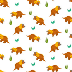 Cute cartoon triceratops seamless pattern for kids textile. Nice bright childish texture with dino characters and grass for children textile, wrapping paper, cover, background