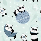 Seamless childish pattern with slepping pandas on moons and starry sky. Creative kids texture for fabric, wrapping, textile, wallpaper, apparel. Vector illustration - 234562458
