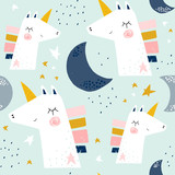 Seamless childish pattern with cute unicorns and moons . Creative scandinavian kids texture for fabric, wrapping, textile, wallpaper, apparel. Vector illustration - 234562655