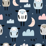 Seamless pattern with cute sleeping sheep, moon, clouds. Creative good night background. Perfect for kids apparel,fabric, textile, nursery decoration,wrapping paper.Vector Illustration - 234562672