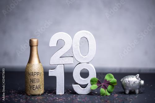 Leinwanddruck Bild Silvester Neujahr 2019