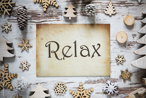 Leinwandbild Motiv Rustic Christmas Decoration, Paper, English Text Relax