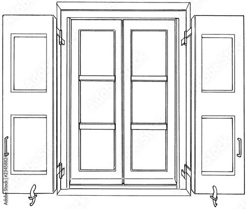 漫画風ペン画イラスト 西洋風窓 - 234588242