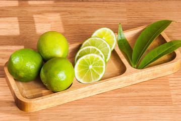 fresh lemon on the vintage wooden table