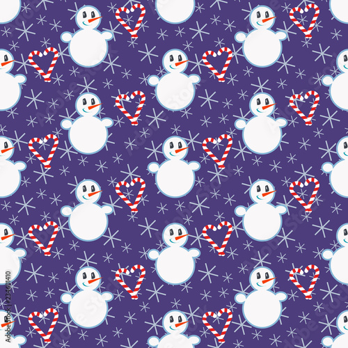 fototapeta na ścianę Cute Christmas pattern with snowman, candy canes and snowflakes