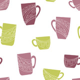Cup doodle graphic color seamless pattern background illustration vector - 234603001