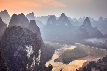 Scenic sunset over Li River, China.