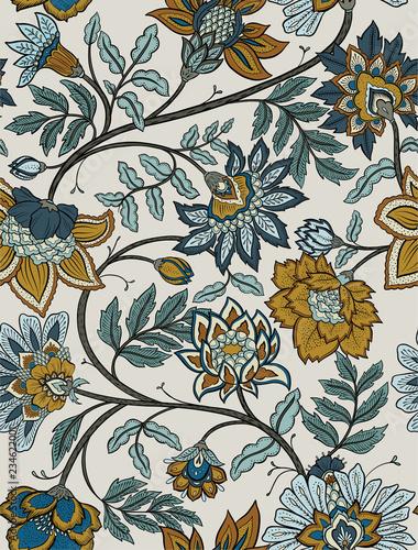 Seamless retro mandala and paisley floral pattern - navy and mustard - 234622001