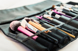 Set of different make-up used brushes