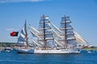 The Sagres sails along the Dartmouth side of Halifax Harbour