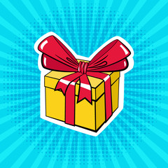 A box with a gift. Illustration in pop art style.