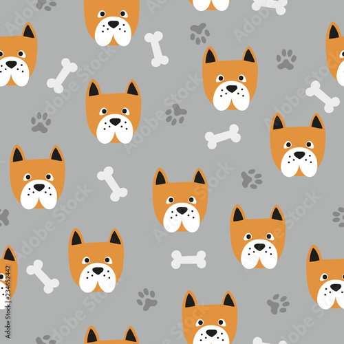obraz PCV Seamless cute dog pattern. Vector background with bulldogs, paws and bones.