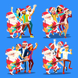 Santa Claus Dancing With Group Of People And Guitar In Hands. Positive Men And Women. Having Fun Dancing. Christmas Party Vector Illustration