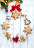 Christmas holidays decoration card background; Christmas flat lay ornament; © Konstiantyn