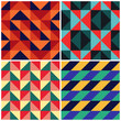 Triangles mosaic vector geometric retro pattern background