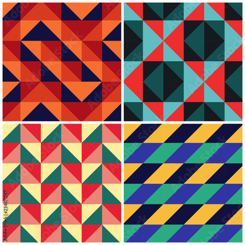 Obraz na płótnie Triangles mosaic vector geometric retro pattern background