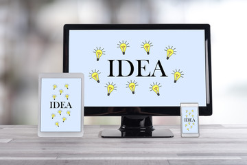 Idea concept on different devices © thodonal