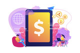Businessman and woman transfer money with gadgets. Digital currency, cryptocurrency market, e-money transfer and digital money turnover concept. Bright vibrant violet vector isolated illustration - 234676461