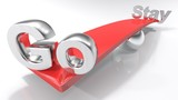 Red balance Go - Stay concept - 3D rendering illustration - 234680694