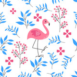 vector pattern of flamingo and leafs with white background