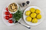 Mushrooms, dill, tomatoes in plate, salt, pepper, baked potatoes, fork - 234707054